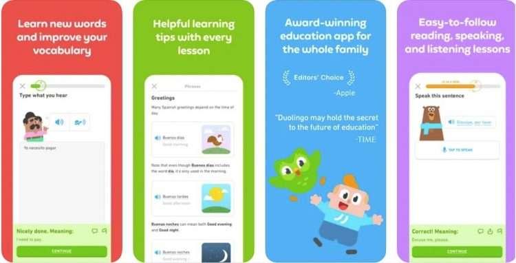 DuoLingo app screenshots