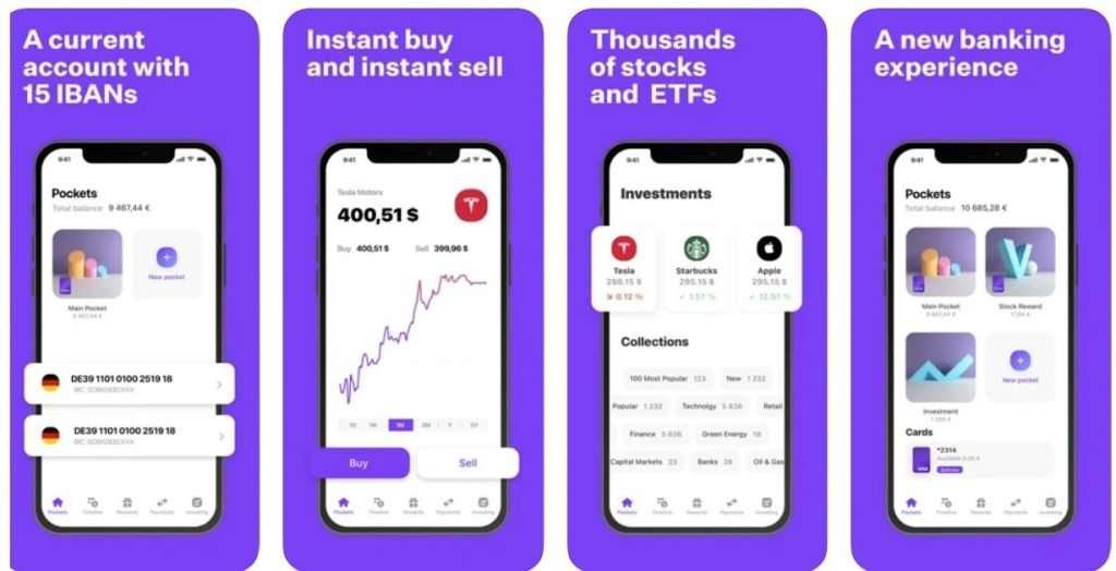 Vivid bank app screenshots